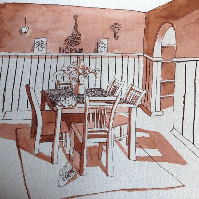 Anndelize Graf, 2015. Dining Room. Sepia ink wash on paper. A4