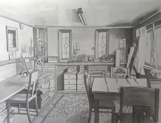 Anndelize Graf, 2015. Home Studio. Ink wash on paper. A4