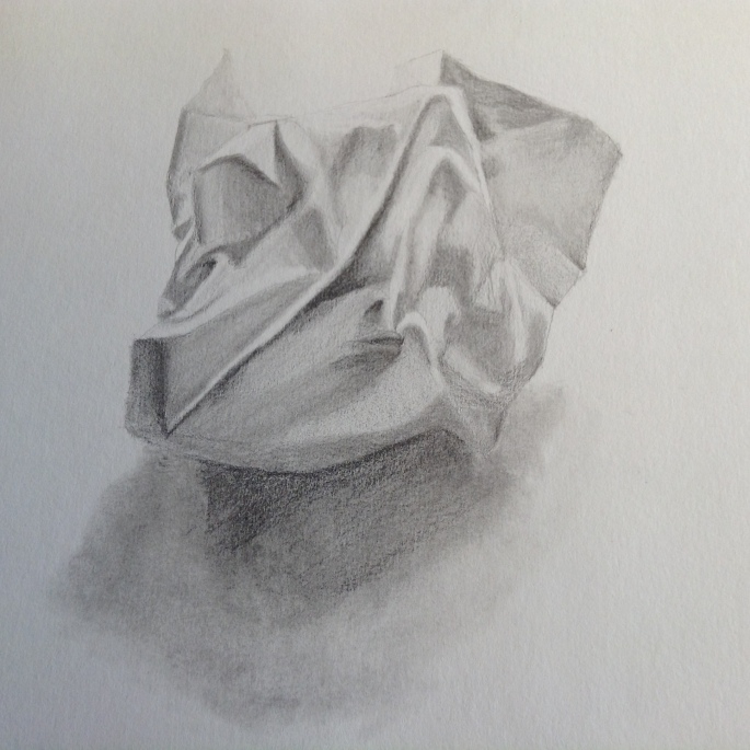 Anndelize Graf, 2015. Scrunched paper. Graphite on paper. A2