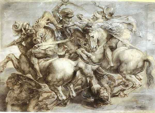 Leonardo da Vinci, c.1604. 'Battle of Anghiari' Black chalk, pen & ink, highlights in grey & white. 45.2cm x 63.7 cm. Louvre, Paris.