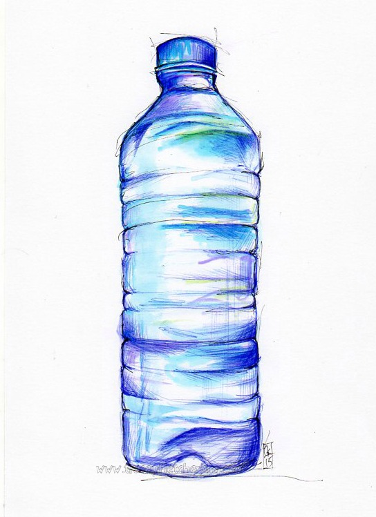 Tracey Fletcher King. Bottle, 2015, Ballpoint pen, 150mm x 220 mm