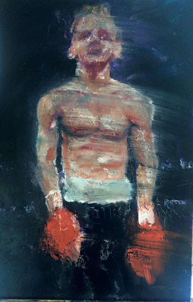 "Stephen Tiernan 'After the Fight' 2015 - oil on canvas 50cm X 77cm (19.6"" X 30.3"")"