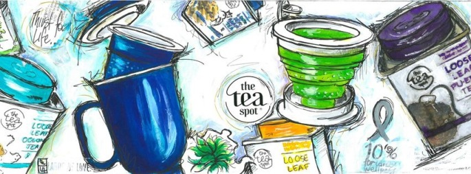 Tracey Fletcher King. Teaspoon Header, Dec 2014, Watercolour, acrylic paint, gouache, ephemera, and ink, 180mm x 420mm