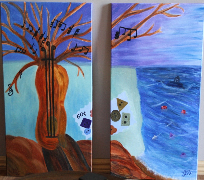 """Joti. """"Objects of Obsession"""" 2009 Water soluble oil on canvas 30 x 60 cm x 2 panels"""