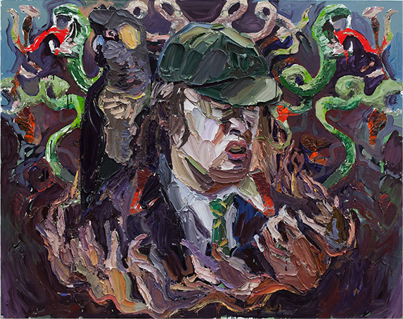 Ben Quilty, 2010. Angus Young from AC/DC. 146 x 185 cm. Accessed from: http://www.artofmusic.com.au/previous-years/2010/
