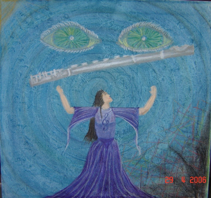 "Joti. ""Mystic"" 2002 (shown in 2006) Acrylic and pastel on canvas. 60 x 60 cm"