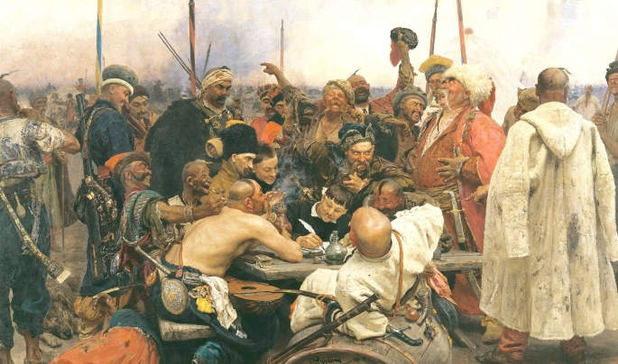 Ilya Yefimovich Repin, 1880-1891. The Zaporozhian Cossacks write a letter to the Sultan of Turkey. 358 × 203 cm.  Oil on canvas. Accessed from: https://commons.wikimedia.org/wiki/File:Repin_Cossacks.jpg