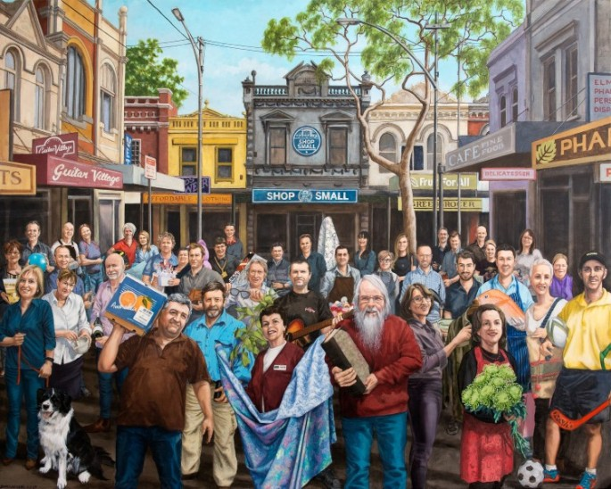 "Jenny McCracken. ""Faces of Shop Small.' 2 x 3 meters. Chalk and paint on canvas. Accessed from: http://zestevents.com.au/promoting-the-faces-of-australian-small-business-shopsmallau/"
