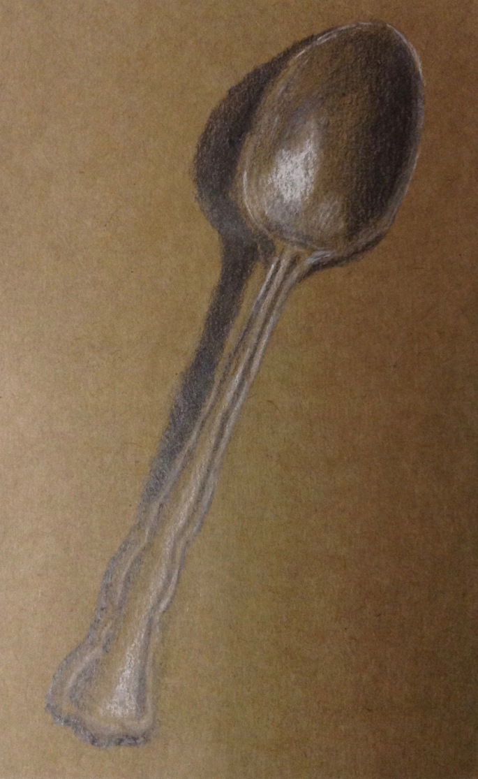 Antique Spoon. Graphite & Charcoal on toned paper. © Anndelize 2016