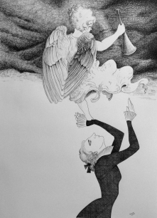Klara Jones. Angel Faith, pen and ink