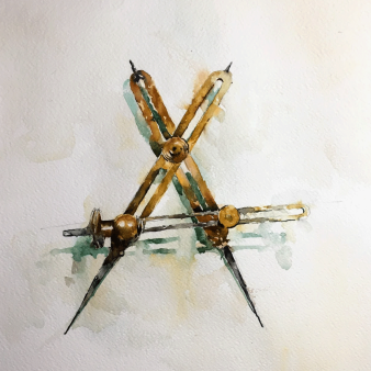 "Brass callipers. Michele Clamp. Watercolour 14""x11"""