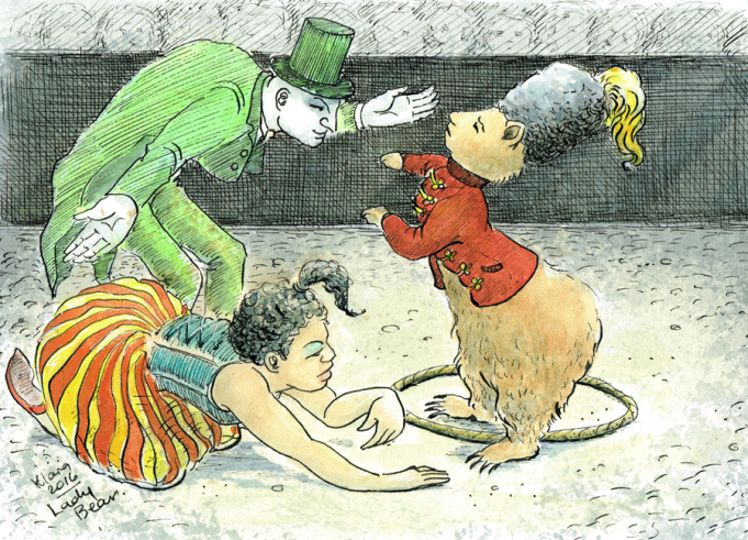 Klara Jones. Lady Bear, pen and ink, tea, watercolour