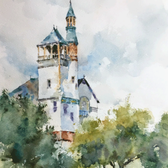 "Baptist Church, Marlborough, MA. Michele Clamp. Watercolour 14""x11"""