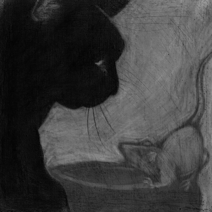 Klara Jones. Cat and Mouse, charcoal, gesso