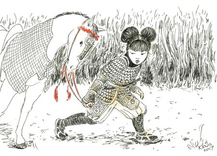 Klara Jones. Samarai Girl, pen and ink, tea, watercolour