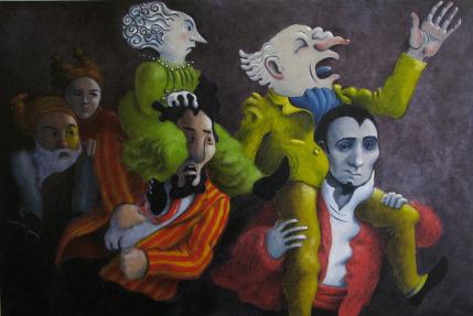 Klara Jones. The Race, oil paint on canvas