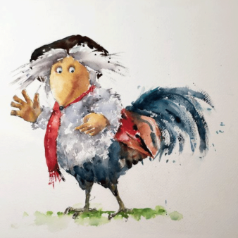 "Cockwomble. Michele Clamp. Watercolour 11""x14"""