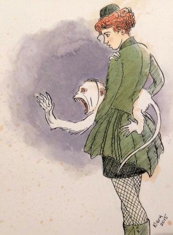 Klara Jones. Girl Monkey, pen and ink, tea, watercolour