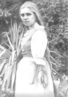 Klara Jones. Handless Maiden, graphite on rag paper