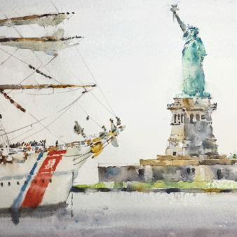 "Liberty Boat. Michele Clamp. Watercolour 11""x14"""