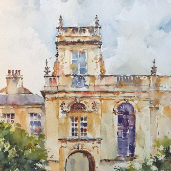 "Trinity College, Oxford. Michele Clamp. Watercolour 14""x11"