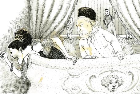Klara Jones. At the Opera, pen and ink ,and tea