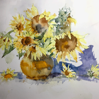 "Sunflowers. Michele Clamp. Watercolour 11""x14"""